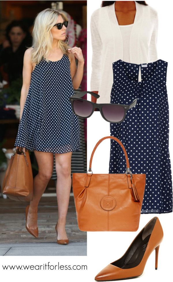 Sienna Miller in a navy and white polka dot dress - get the look for less!