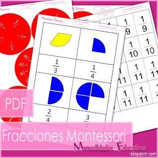 Manualidades Educativas: Peones fraccionados - Sensorial y División de fracciones - AHORA IMPRIMIBLE GRATIS!!