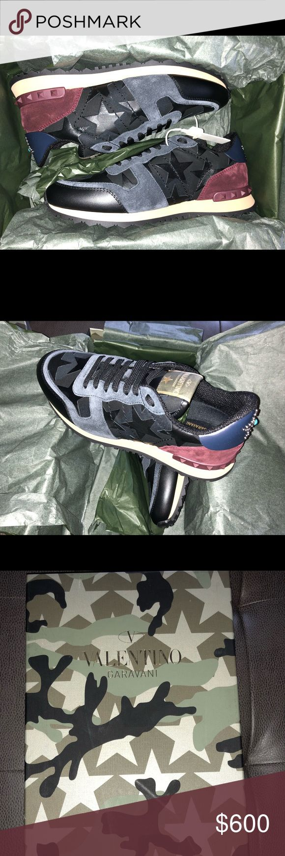 Valentino Mens Sneakers size 40.5 Brand New NY2S07 Men's Camustars Rockrunner Valentino Garavani NY2S0723ANC Size 40.5 Brand New Valentino Shoes Sneakers #valentinoshoes