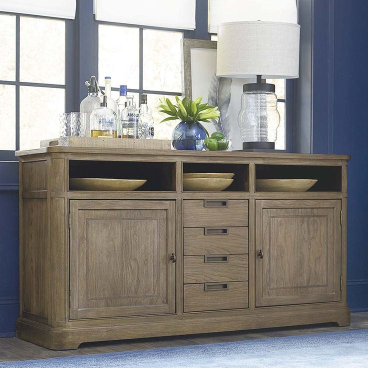 Vintage Artisan Style Server By Bassett Furniture Combines Pared Down Traditional Elements With Natural Dry Finishes