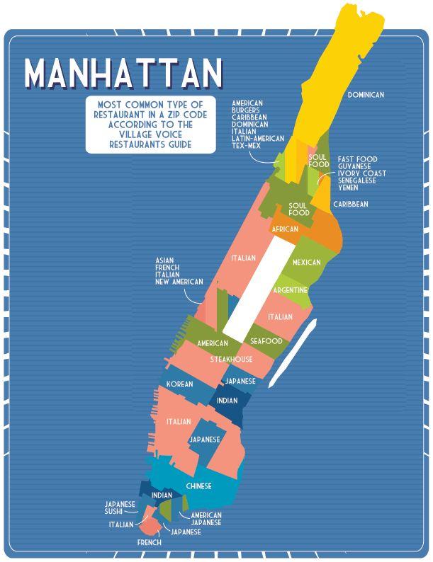 The Manhattan Cuisine map