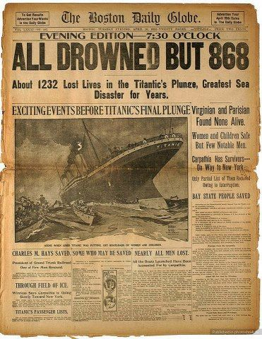 Titanic headlines...I believe it was closer to 700 though
