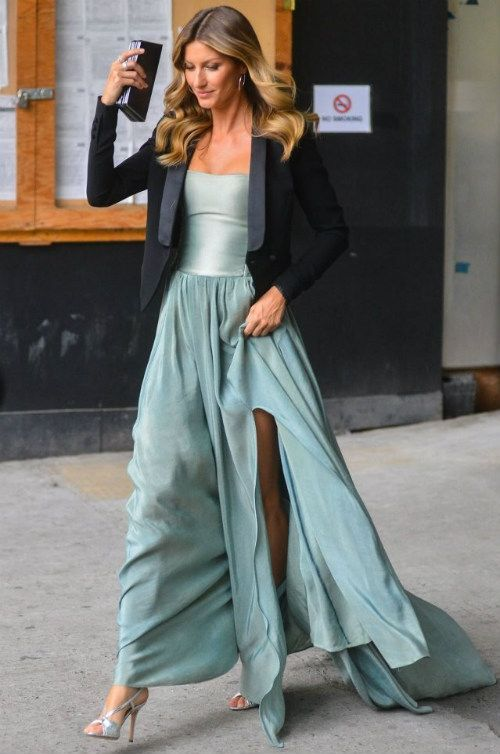 Gisele Bundchen wearing Prophetik Resort 2011 Strapless Chiffon Gown.