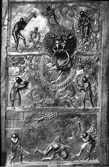 Hildesheim: la porte de Bronze de l'évêque Bernward: le cycle de Caïn et Abel. 1015