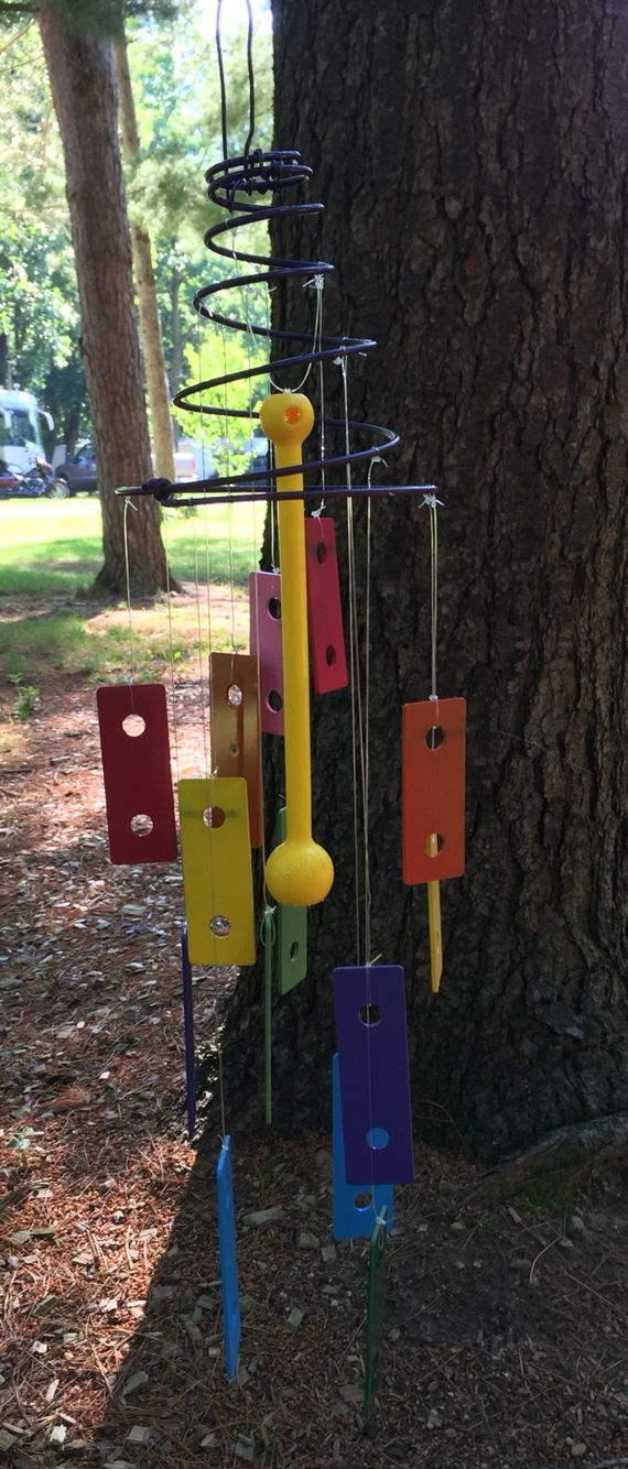 Wind Chimes made from repurposed xylophones and old bed spring