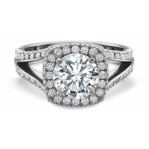 New Aire Diamond Prong Set Cushion Halo Engagement Ring