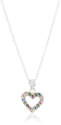 "Hallmark Jewelry ""Baby & Kids"" Sterling Silver Crystal Heart Pendant Necklace, 18″"