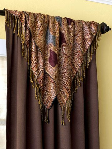 Gorgeous - very nice!  Top It with a Scarf: Make It  How to Make It  -- Purchase two women's dress scarves in patterns and colors that fit your decor.  -- Cut in half, hem.  -- Lay them over top of panel and pin in place.  -- Sew one at a time (bottoms scarf first).