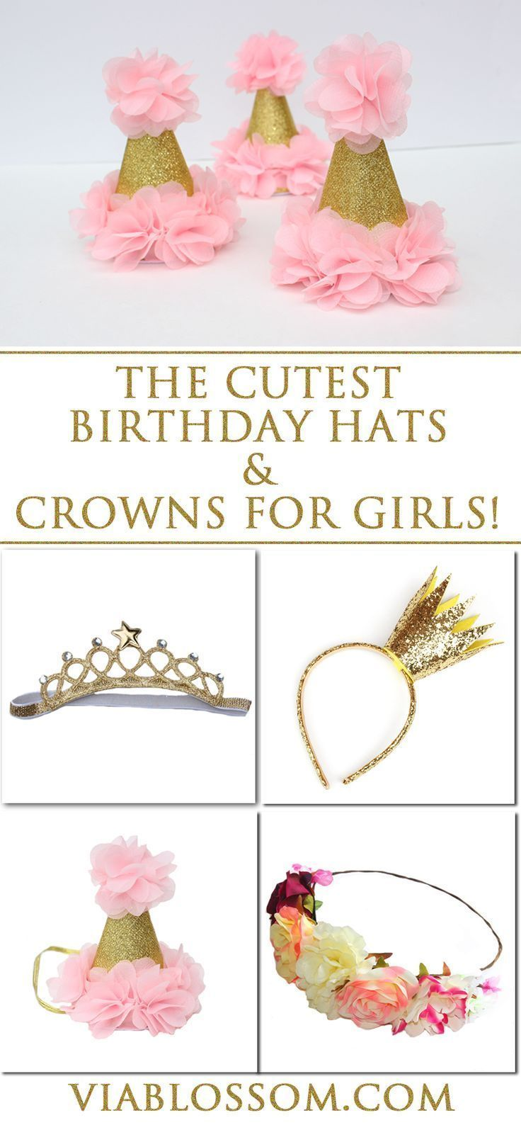 The cutest birthday hats, flower headbands and princess crowns for  your little girl!  They are perfect  for 1st birthdays, princess parties, fairy parties  and more!
