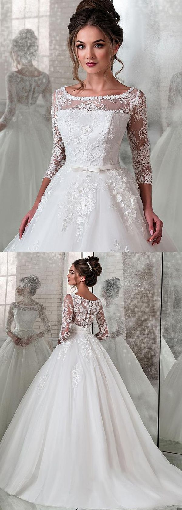 [179.50] Modest Lace & Tulle Scoop Neckline Natural Waistline Ball Gown Wedding Dress With Lace Appliques & 3D Flowers & Beadings