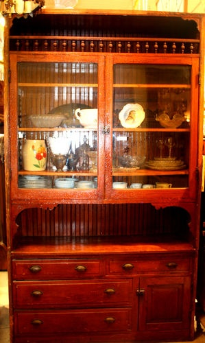 Turn Of The Century 1890s Built In China Cabinet Cupboard With Crackle Finish
