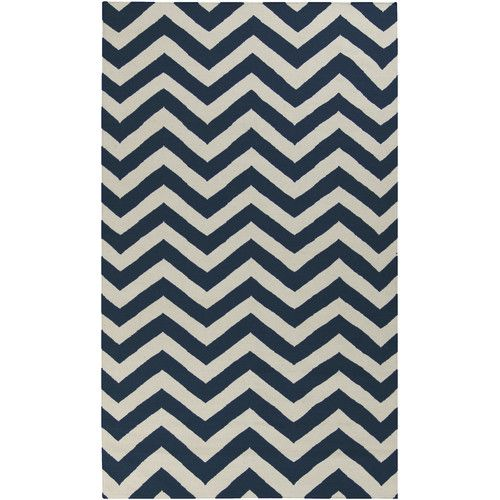 Found it at Wayfair - Marion Midnight Blue/Papyrus Chevron Area Rug