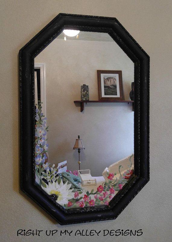 Small Black Painted Mirror Polygon Unique