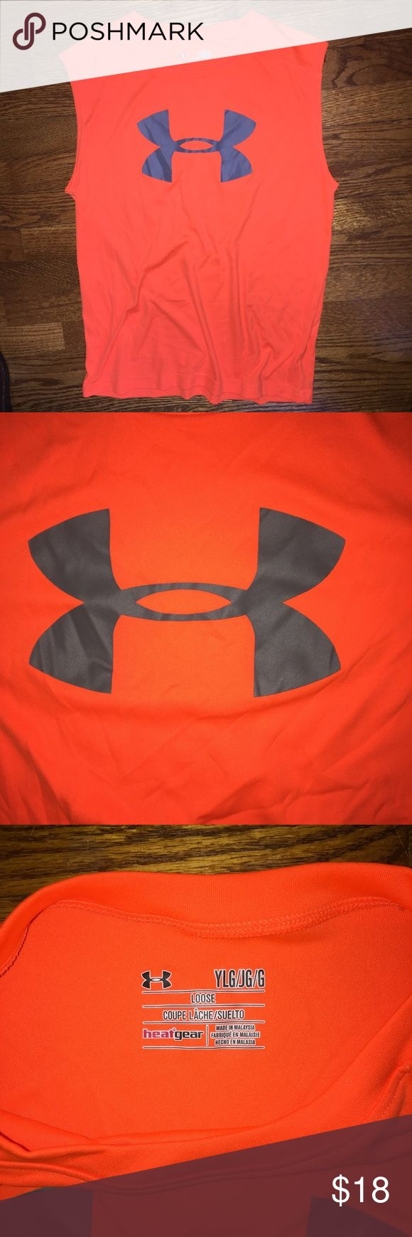Under Armour tank top...Size YL Like new Under Armour tank top...orange with grey logo...Size YL...no rips, stains or snags...from a smoke free home! Under Armour Shirts & Tops Tank Tops