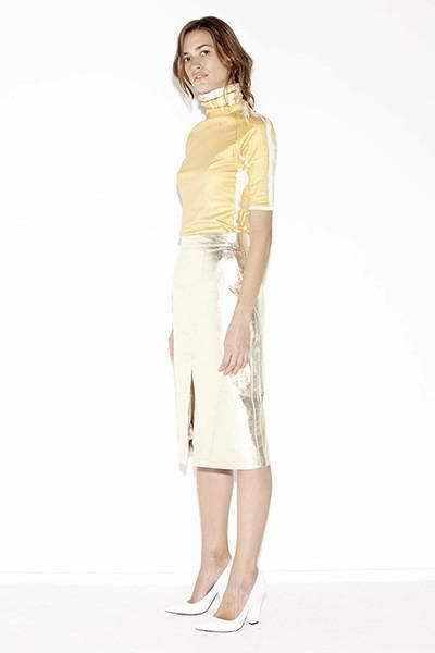 shop ethical sustainable & ethical clothing by Kaliver LUMINIFEROUS TOP in GOLD