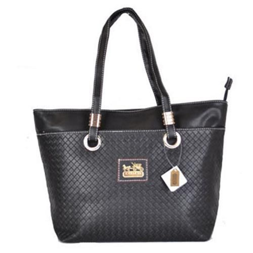Coach Knitted Logo Medium Black Totes DXE Give You The Best feeling!