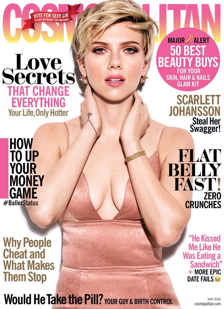 Actress Scarlett Johansson lands the May 2016 cover of Cosmopolitan Magazine, wearing a Christian Siriano dress while flaunting major cleavage. Inside the magazine, Scarlett poses for James White in body conscious looks