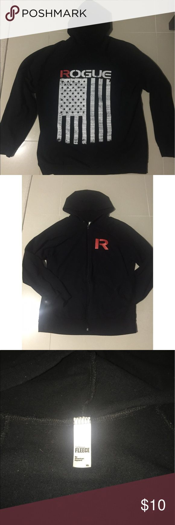 Men's Rogue Fitness hoodie jacket Men's Rogue Fitness fleece hoodie jacket. The jacket is very comfy, but the drawstring came out in the washing machine. Still in excellent condition beyond the missing drawstring. Jackets & Coats Performance Jackets