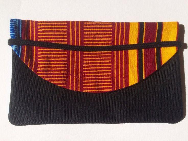 Etui pour carnet ou Blague à tabac tissu kente à motif africain bleu ve - Afrikrea