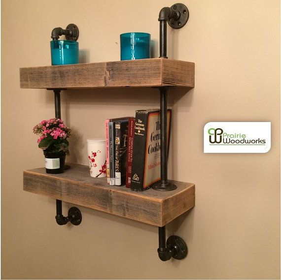 Reclaimed Barn Wood Floating Shelves Mounted by Prairiewoodworking