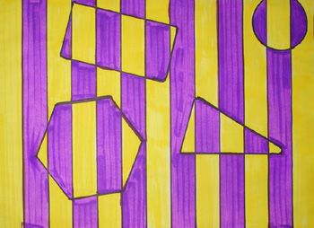 "Students will view examples of ""Op Art"" (The art of optical illusions). They will discuss the different ways that art can ""fool the eye"" and ""play tricks with your eyes"". They will create their own Op Artwork by using markers, rulers, and geometric shapes. They will also learn about color contrast, and will choose colors that are either high or low contrast. (This part is good, but I might do take a chance to teach about complimentary colors instead.)"