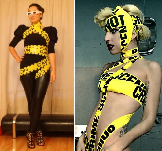 caution tape lady gaga kost m selber machen. Black Bedroom Furniture Sets. Home Design Ideas