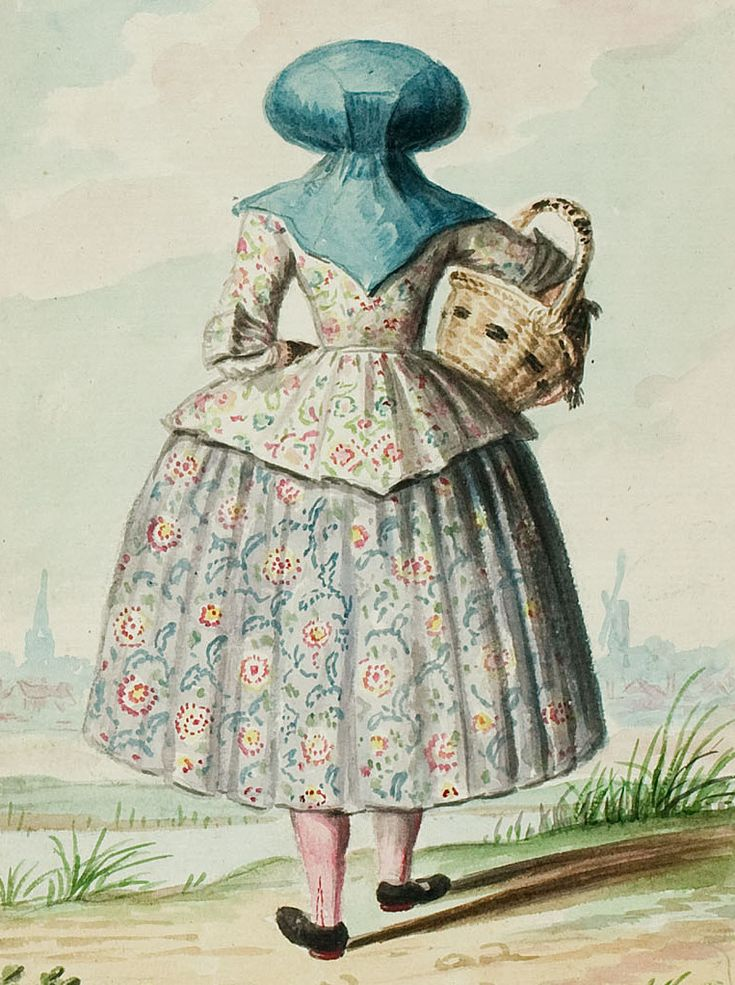 1770s 18th Century Woman S Outfit With Mixed Print