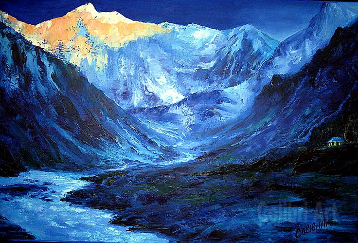 "Original Handmade Oil Painting Ultramarine 16"" x 20"" Gallery Canvas by Colibri Art Materials: gallery canvas, oil paints, palette knife Painting  Oil  colorful painting  original painting  picture for gift  impressionism  landscape mountains  river  present for men  house in mountains  top of mountains  night  blue"