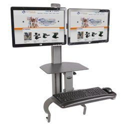 dual monitors, height adjustable, space-saving as well as
