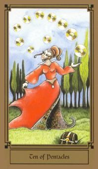 June 8 Tarot Card: Ten of Pentacles (Fantastical deck) You've got to look long-term. If you want to end up in a place of stability and comfort, all the decisions you make now must be in-line with that future vision