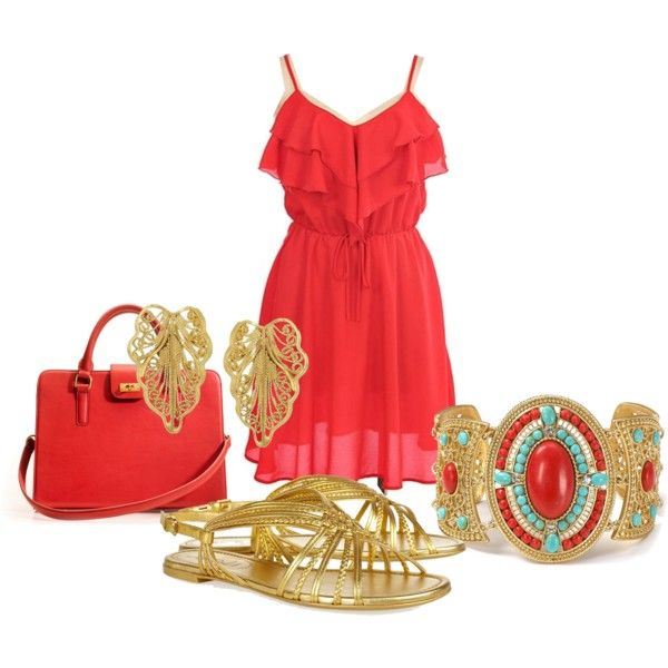 : Coral And Gold, Red Sundress, Coral Gold, Coral Outfits, Coral Summer, Christmas Outfits, Amazing Outfits, Honeymoon Outfit, Gold Sundress