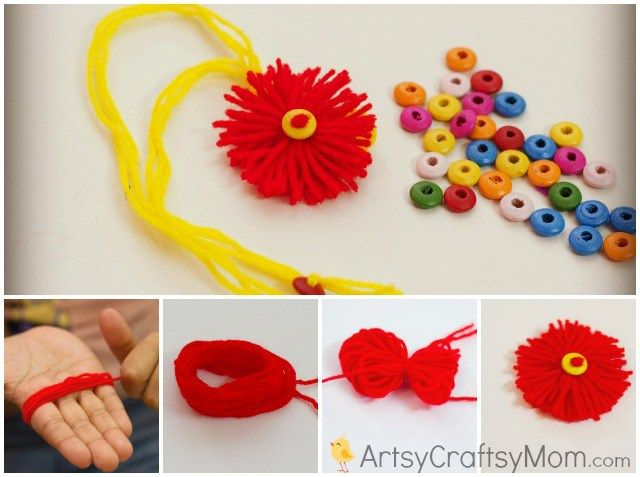 how to make a wool rakhi at home. We have 15 best ideas to make Rakhi at home for Rakshabandhan - Perfect rakhi ideas for kids to make, rakhi competition, best of waste, simple and handmade with detailed step by step images- ArtsyCraftsyMom