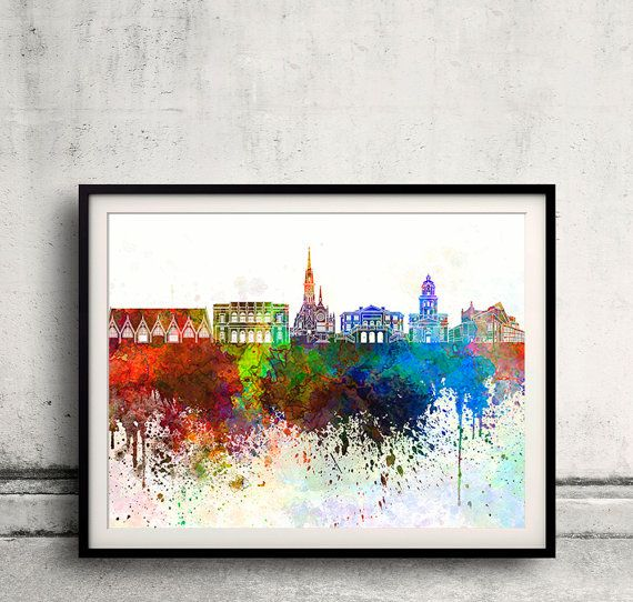 Gothenburg skyline in watercolor background 8x10 in to by SPPRINTS