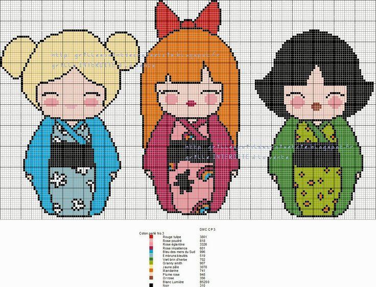 Powerpuff Girls Kokeshi cross stitch pattern by grilles point de croix et cie