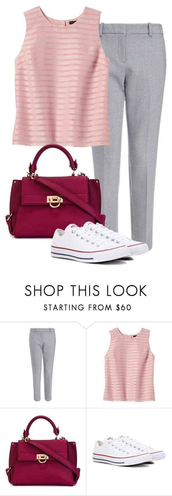 """Untitled #701"" by indirareeves on Polyvore featuring Banana Republic, Salvatore Ferragamo and Converse"