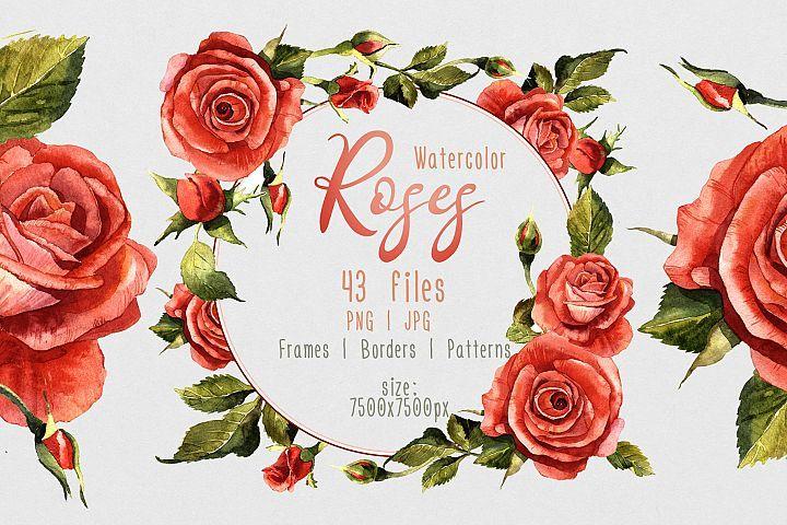 Red Roses Png Watercolor Flower Set 74606 Illustrations Design Bundles