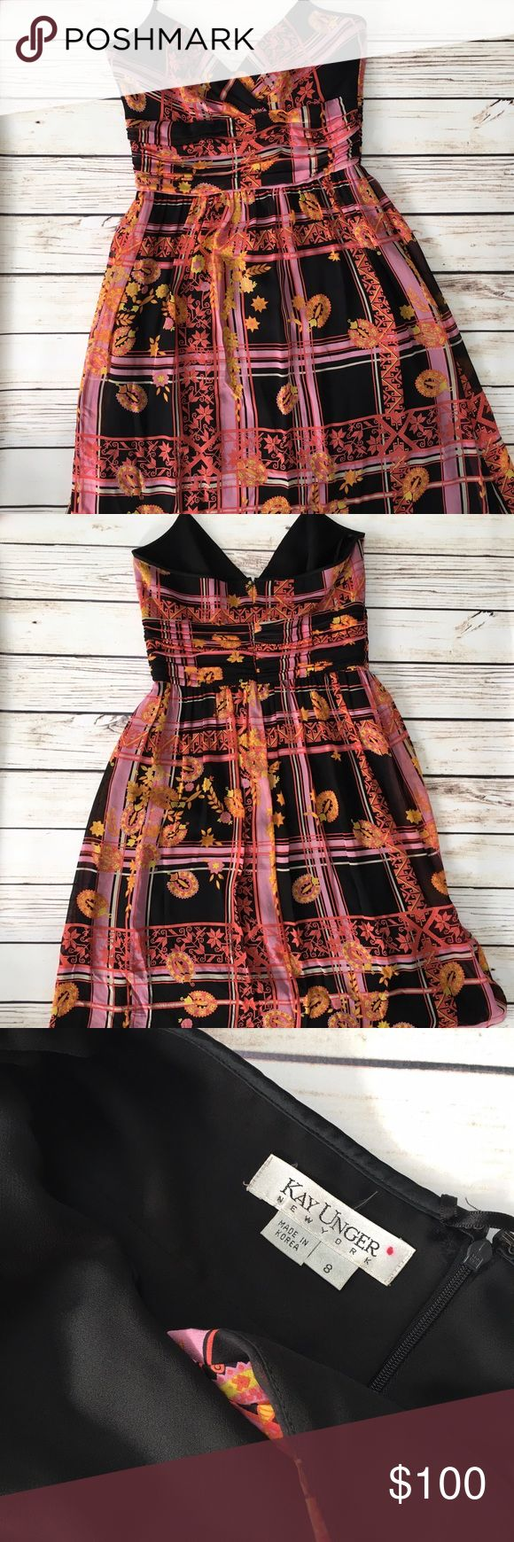 KAY UNGER Summer Dress KAY UNGER Summer Dress. So chic! Halter tie next. Beautiful print and fabrics. Silk lined. From Neiman's. As is. In excellent condition. Worn once for event. Kay Unger Dresses Midi