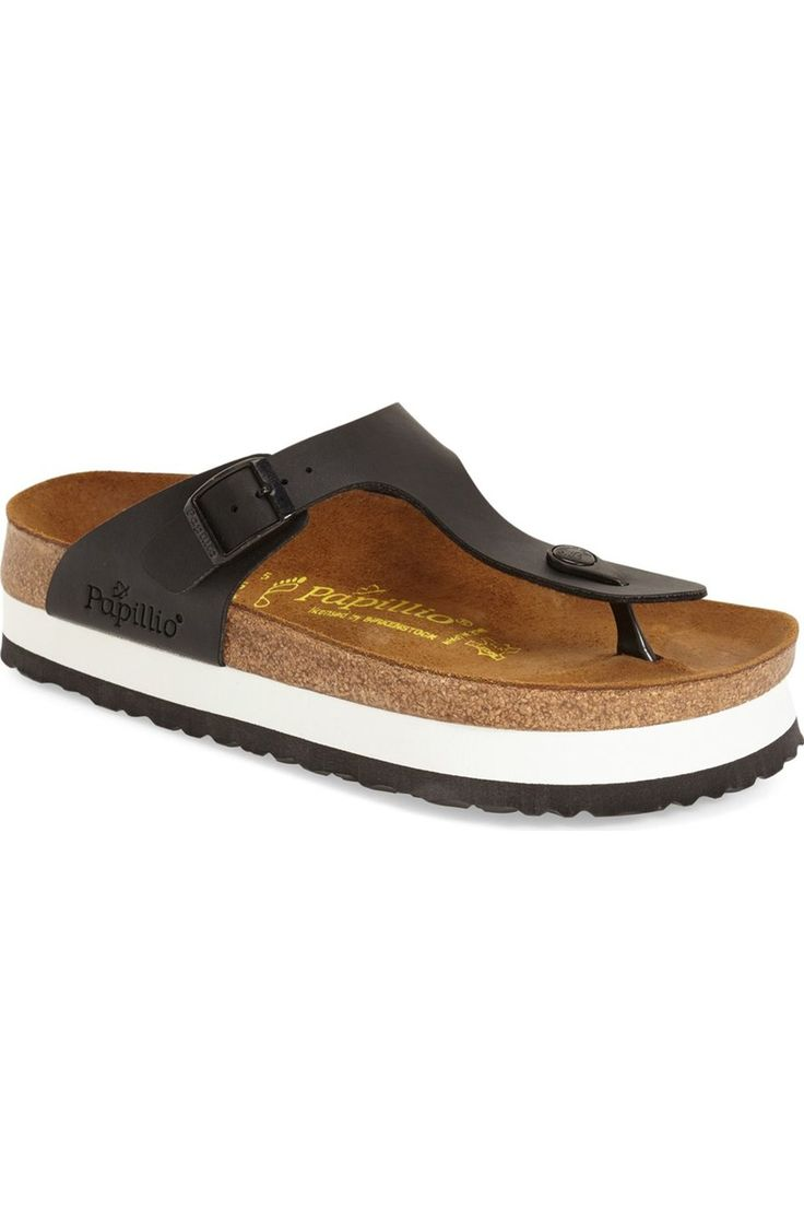 Free shipping and returns on Papillio by Birkenstock 'Gizeh' Birko-Flor Platform Flip Flop Sandal (Women) at Nordstrom.com. A German-crafted thong sandal fitted with the legendary Birkenstock footbed cradles and supports your foot for fantastic comfort. The suede insole absorbs moisture and feels great against the skin, and the contoured cork footbed conforms to your foot with wear to provide a custom fit.