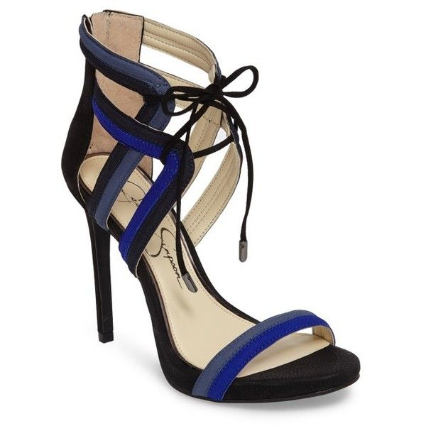 Women's Jessica Simpson Rensa Sandal ($48) ❤ liked on Polyvore featuring shoes, sandals, blue violet, high heel stilettos, tie shoes, caged shoes, tie sandals and heels stilettos