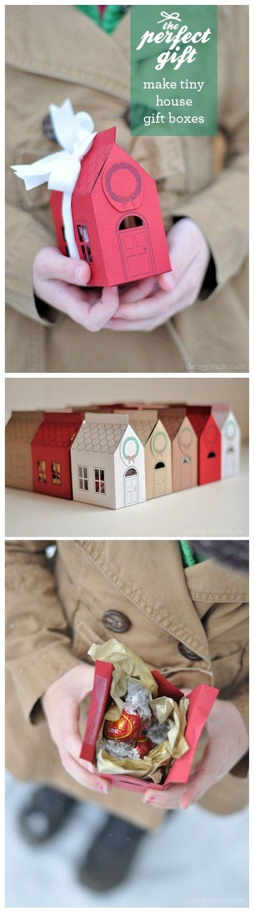 Check out these adorable house-shaped holiday gift boxes that are super easy to put together. You'll want to make one for neighbors, postal workers, teachers — pretty much everyone you know!