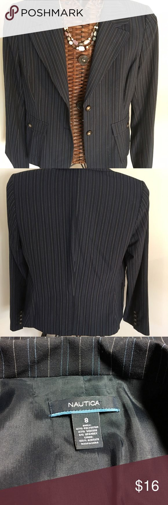 """Nautica Striped Blazer Single breasted fully lined blazer with two front pockets that button closed. Horn buttons. Navy with gold and light blue pinstripes. 19"""" across bust, 23"""" long, 25"""" sleeve length. Nautica Jackets & Coats Blazers"""