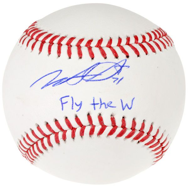 Wade Davis Chicago Cubs Fanatics Authentic Autographed Baseball with Fly the W Inscription - $174.99