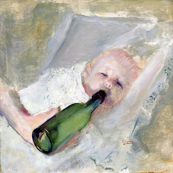 Christian Krohg, 1852-1925, Baby with milk bottle