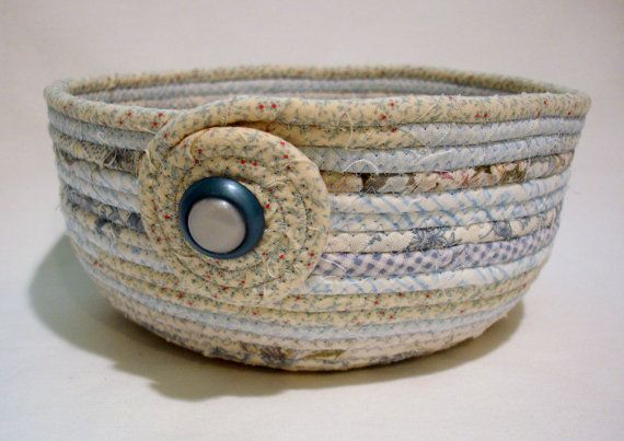 Coiled Fabric Bowl Baby Blue Coiled Fabric Basket by zizzybob