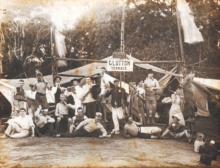 Glutton Terrace c1890's. A feature up to World War I was a number of comfortable and permanent camps which sprang up on Sydney foreshores. They were mostly occupied by young men working in the city who enjoyed life on a beach in their spare time. Many of their friends who lived in more conventional houses welcomed the opportunity to join the camps at weekends. Camps were very common near the beaches and especially in the deeper gullies where fresh water was available from the many creeks.