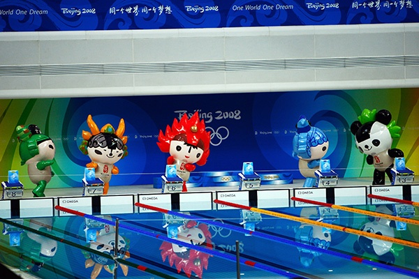 Olympic mascots are seen in the pool at the National Aquatics Center during day 3 of the Beijing 2008 Olympic Games in Beijing, China. (Photo by Jamie Squire/Getty Images)