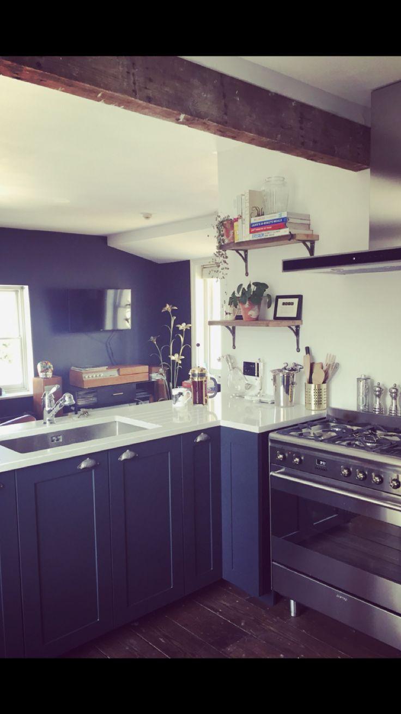 Farrow & Ball bespoke kitchen. Smeg range.