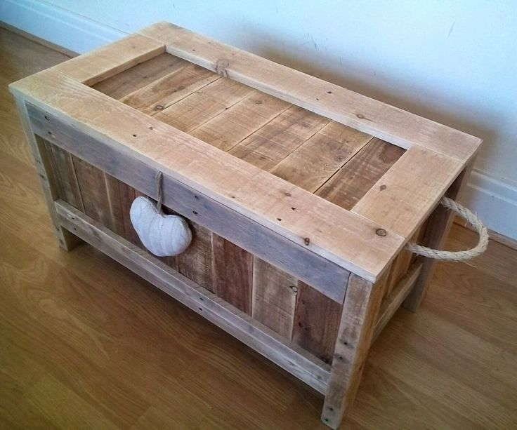 Rustic Wooden Blanket Box Vintage Caffee Table Ottoman Storage Box Pallet  Trunk
