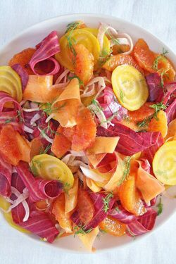 Summer salad with beets, carrots, fennel and blood orange  Ingredients:  2 small yellow beets  1 purple carrot 1 yellow carrot 1 medium fennel 3small blood oranges 2 tbs honey 3 tbs blood orange juice 1 tsp olive oil 1 tsp fennel seeds, crushed  1 tsp cumin seeds, crushed pinch chili flakes  freshly ground pepper & sea salt  http://www.soullifetimes.com/foodie-for-your-soul/summer-salad-with-beets-carrots-fennel-blood-orange