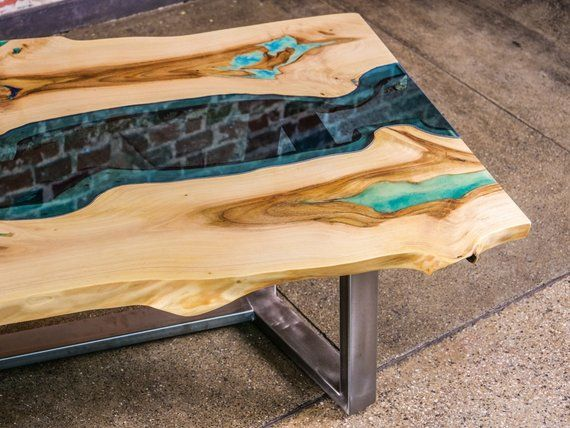 Live Edge River Coffee Table With Glowing Resin And Metal Base Meble